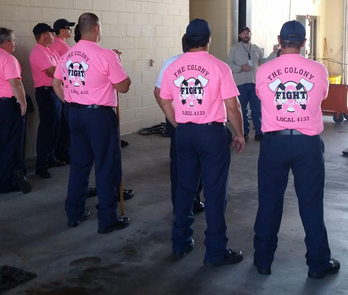 d31d7ce4abda The Colony firefighters Ron Irby, Jerrod Housour and Shane Dowell wear pink  shirts in honor of breast cancer awareness month. During October, the fire  ...