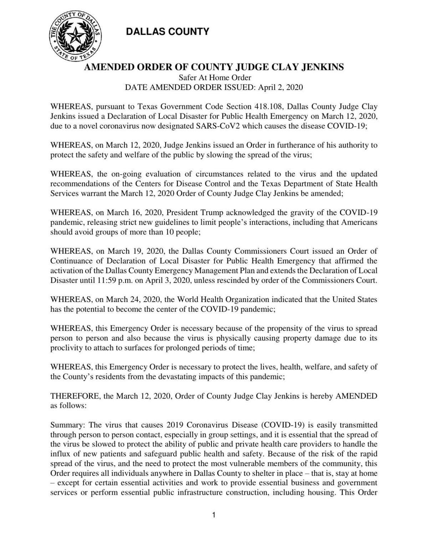April 2 Dallas County order