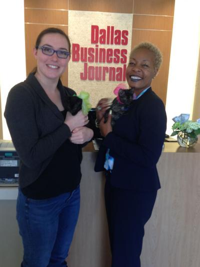 Dallas Business Journal office hosting a Kitten Snugglepalooza session