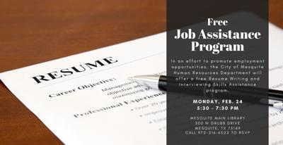 City of Mesquite Human Resources to offer free job assistance program