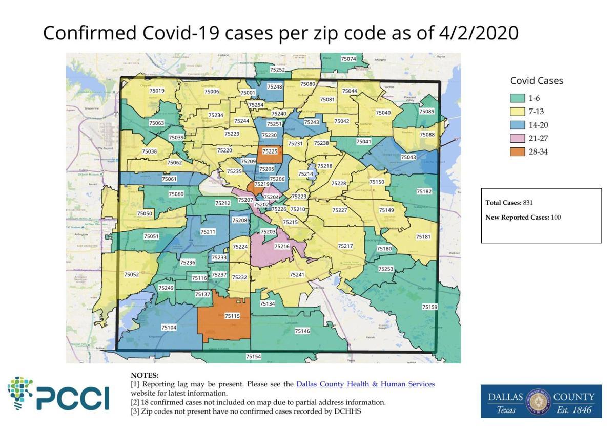 Confirmed COVID-19 cases per zip code