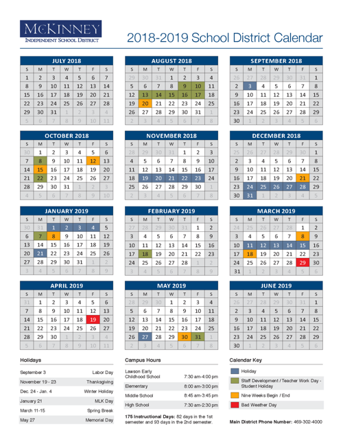Mckinney Isd Calendar 2020 McKinney ISD approves 2018 19 calendar: District of Innovation