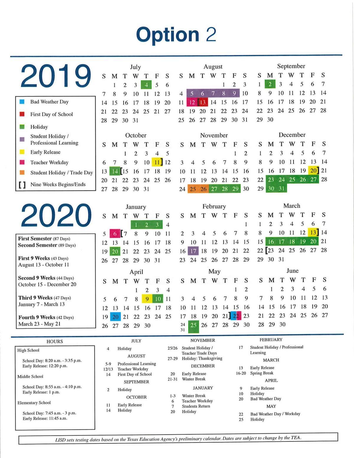 Lisd Calendar 2020 LISD adopts 2019 20 calendar | News | starlocalmedia.com