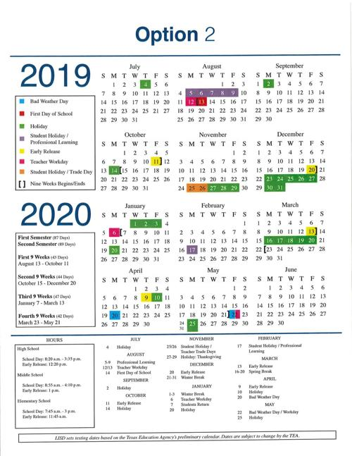 Lisd Calendar 2020 LISD 2019 20 calendar | News | starlocalmedia.com