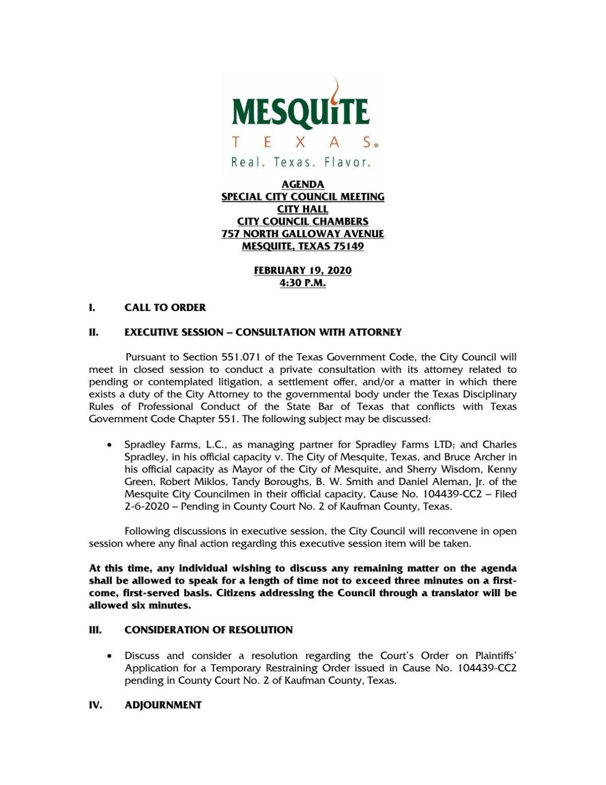 Special Mesquite City Council meeting scheduled for Feb. 19