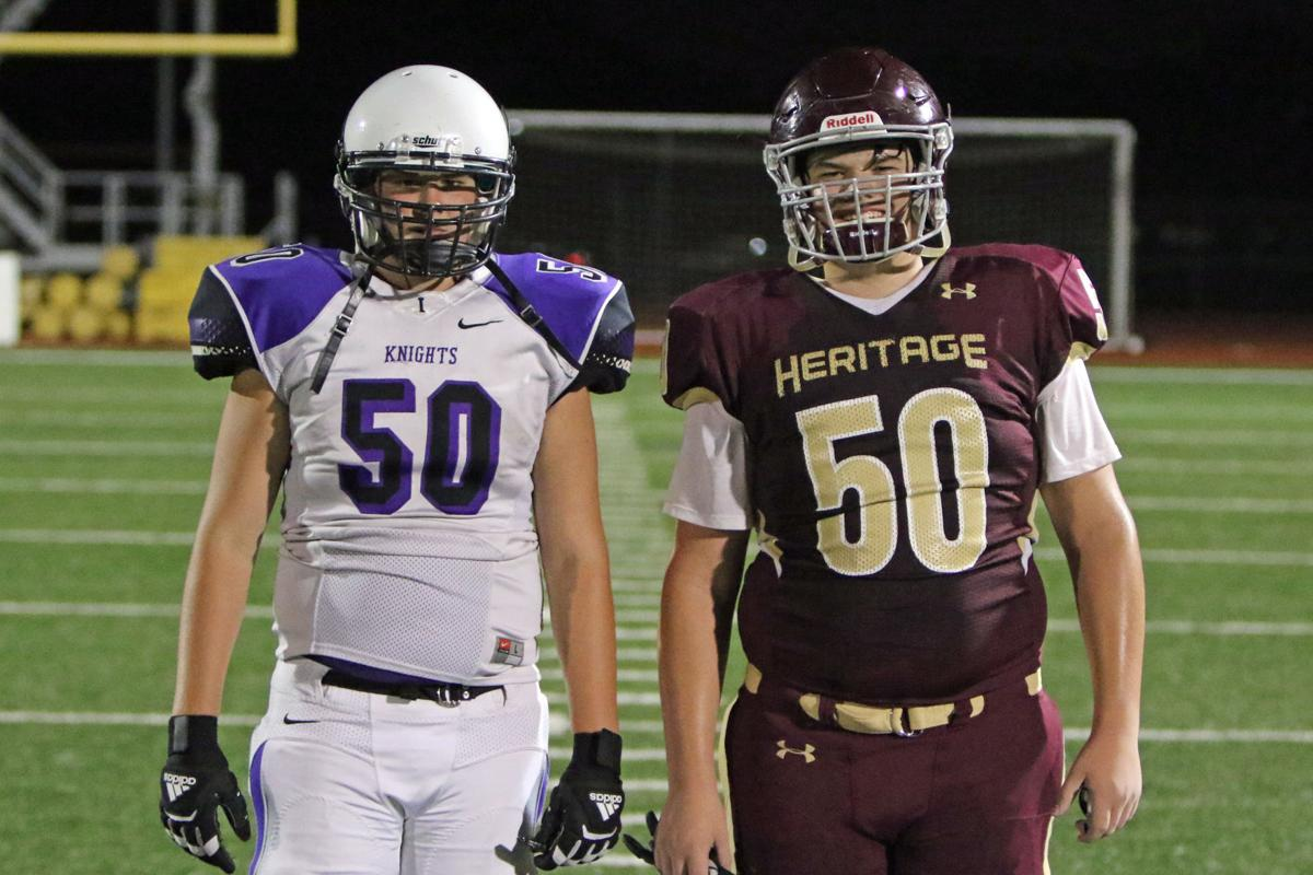 Independence sophomore offensive lineman Jordan Bedell (left) and Heritage sophomore offensive lineman Jared Bedell (right)