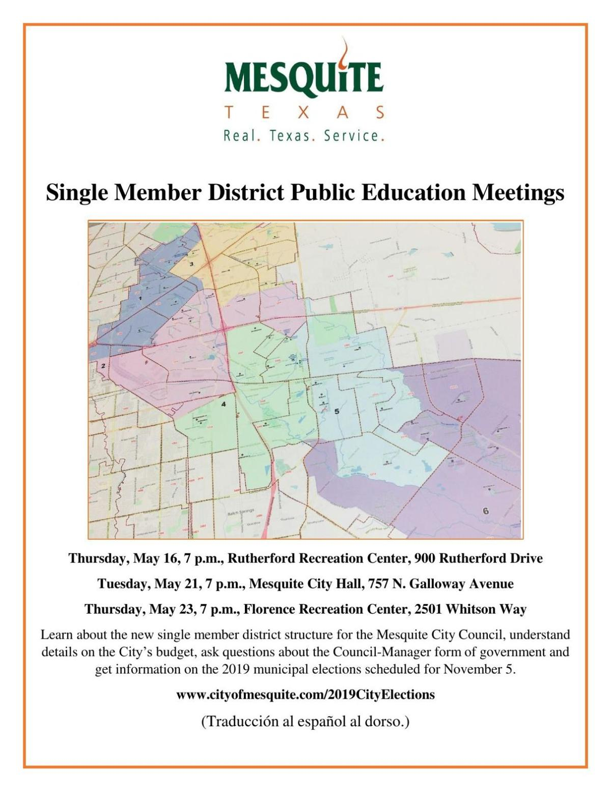 Mesquite city staff educates public on single member districts