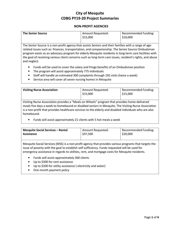 CDBG PY19-20 Program Summary