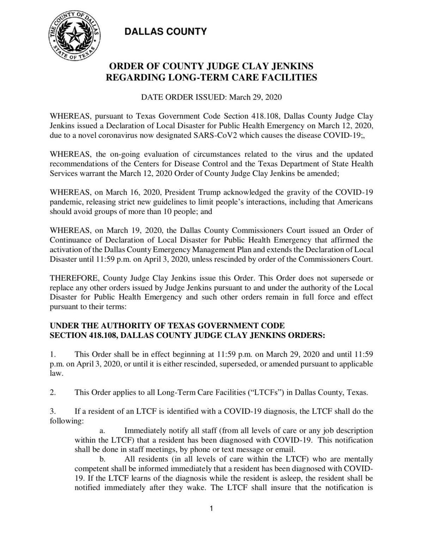 Dallas County order regarding longer term facilities