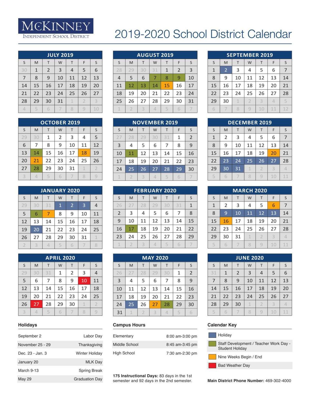 2019 20 Mckinney Calendar Starlocalmedia Com