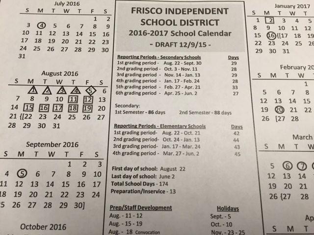 Frisco Isd Calendar 2019 Proposed Frisco ISD calendar for 2016 17 has fewer school days