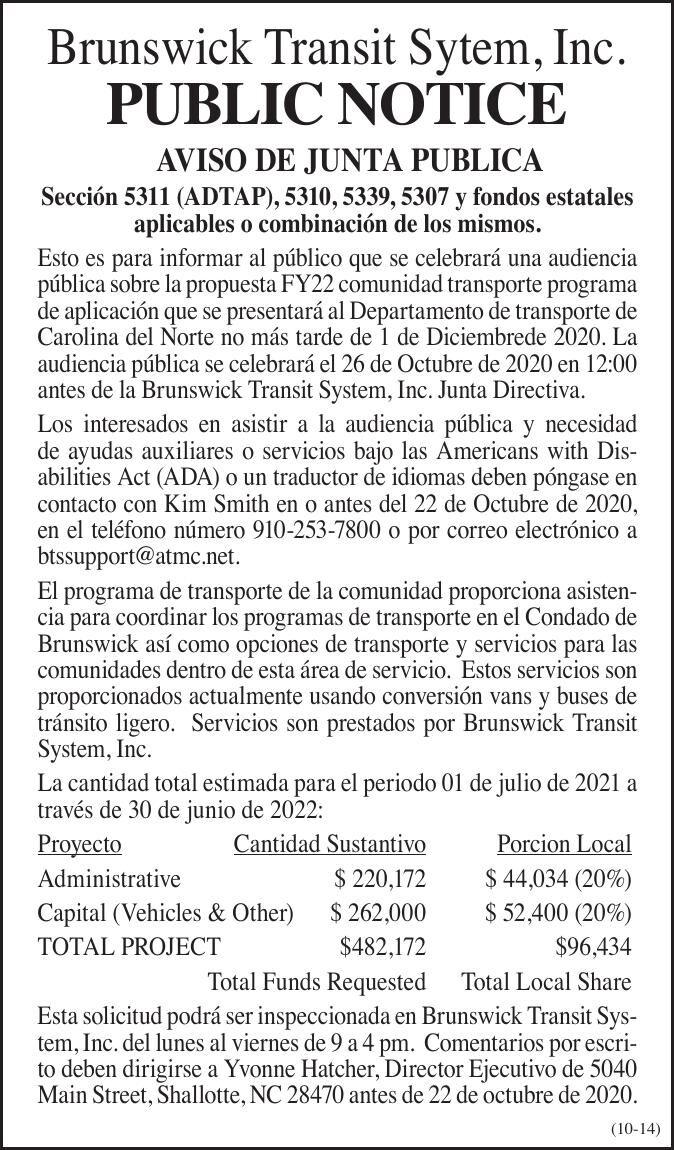 Brunswick Transit Sytem, Inc. • AVISO DE JUNTA PUBLICA  Sección 5311 (ADTAP), 5310, 5339, 5307 y fondos estatales aplicables o combinación de los mismos.