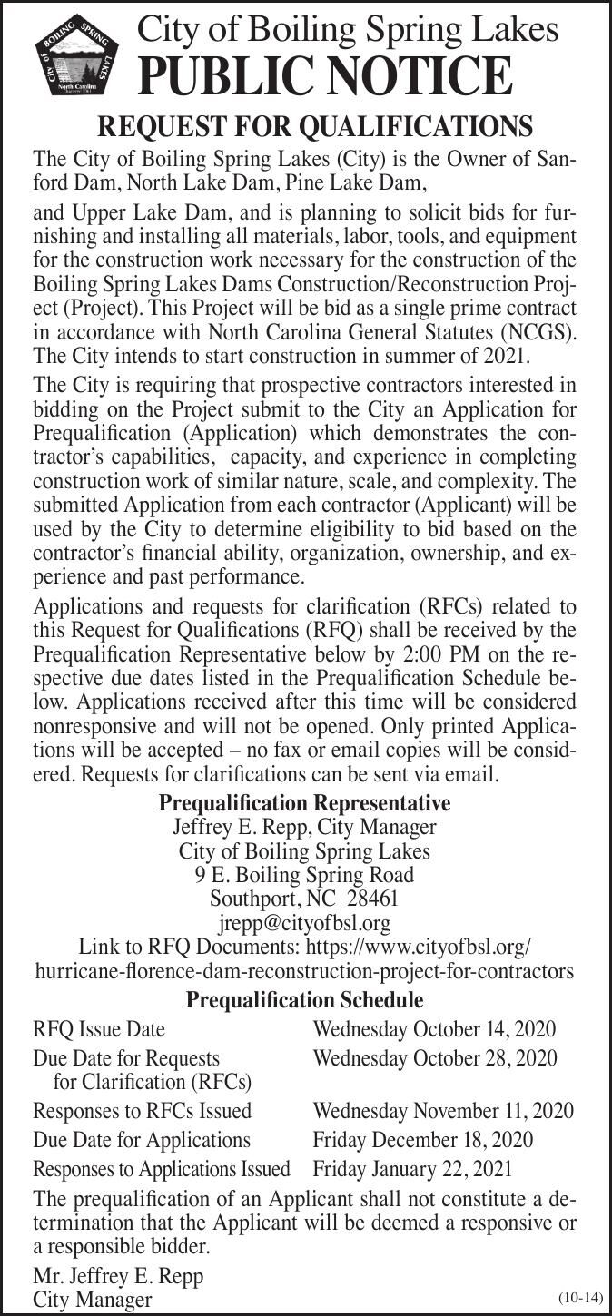 City of Boiling Spring Lakes • REQUEST FOR QUALIFICATIONS Dams Construction/Reconstruction Project