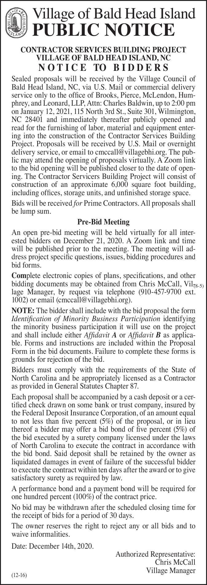 Village of Bald Head Island • CONTRACTOR SERVICES BUILDING PROJECT
