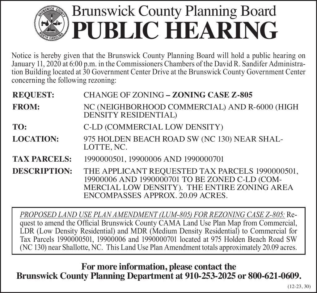 Brunswick County Planning Board •  ZONING CASE Z-805