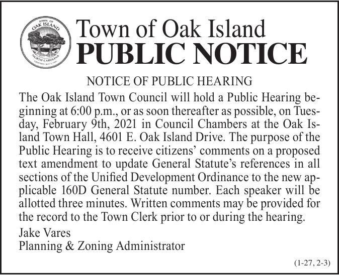 Town of Oak Island •  proposed text amendment