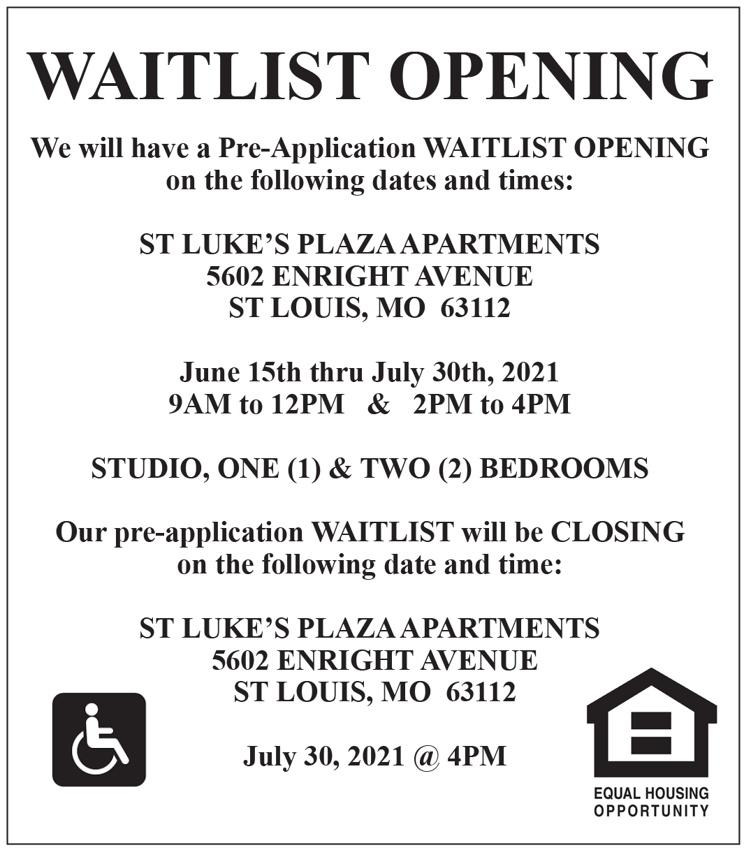Waitlist Opening