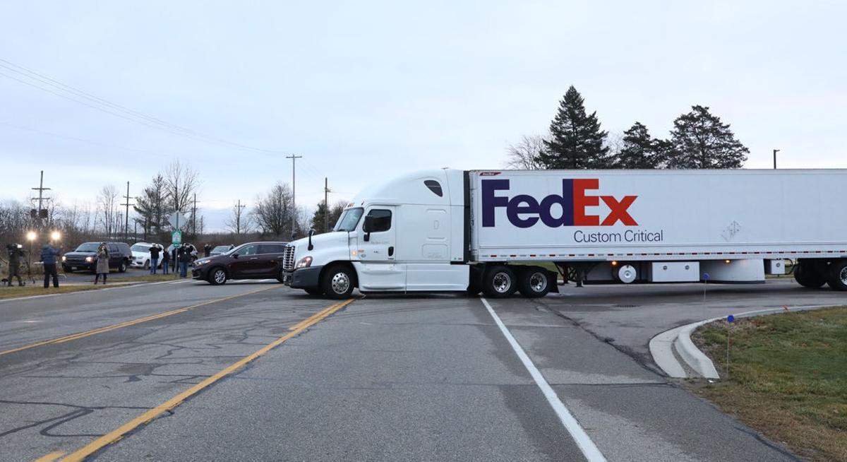 FedEx Truck leaving Pfizer