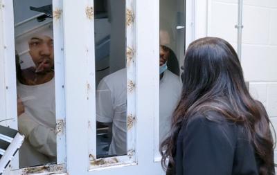 Cori Bush talks to inmates