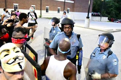 Ferguson Police meet up with protesters