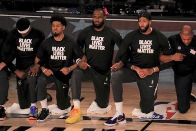 LeBron James kneeling during national anthem