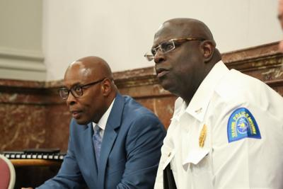 Public Safety director Jimmie Edwards and Police Chief John Hayden