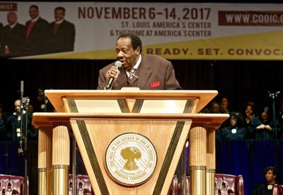 Bishop Lawrence M. Wooten speaking at Holy Convocation in St. Louis in 2017.