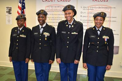Four female JROTC cadets promoted to command at McCluer