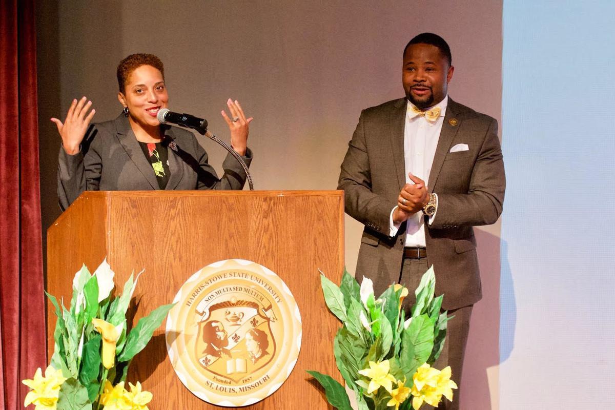 HSSU alum and St. Louis Circuit Attorney Kimberly Gardner with Dr. Dwaun Warmack