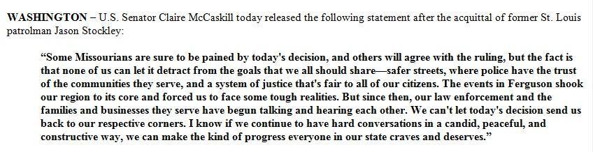 Statement by U.S. Sen. Claire McCaskill