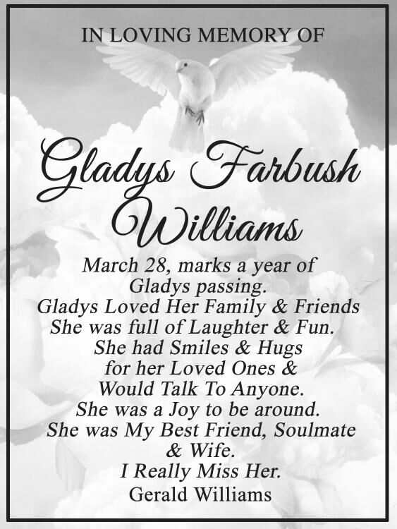 Gladys Williams Obit