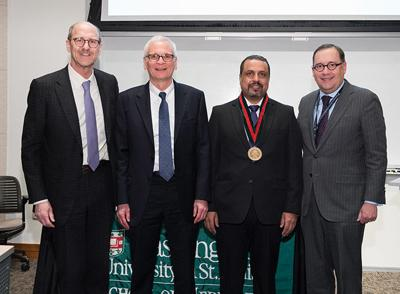 David H. Perlmutter, Regis J. O'Keefe, Yousef Abu-Amer and Chancellor Andrew D. Martin