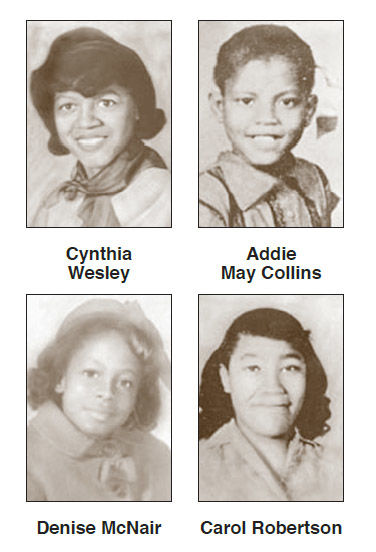 Cynthia Wesley, Addie May Collins, Denise McNair and Carol Robertson