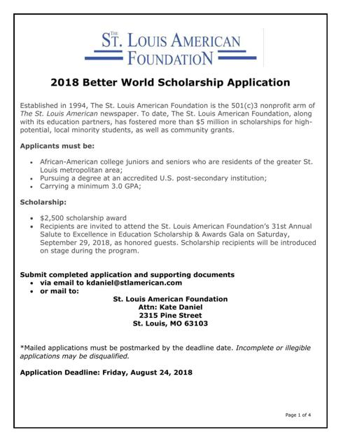 2018 better world scholarship application stlamericancom