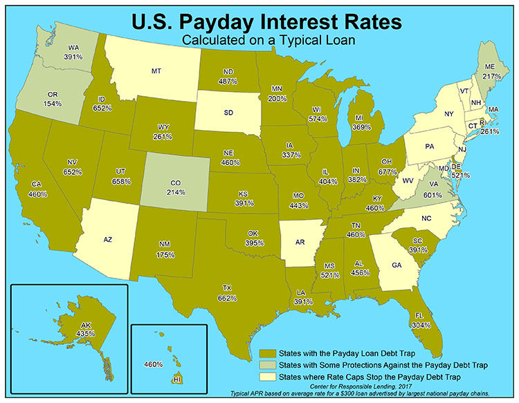 U.S. Payday Interest Rates