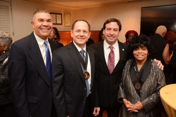 Rep. Wm. Lacy Clay, Mayor Francis Slay, County Executive Steve Stenger and Betty Thompson