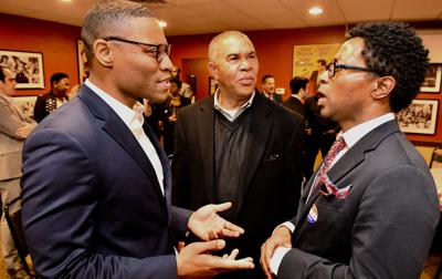 MO State Senator-elect Brian Williams, U.S. Rep. William Lacy Clay and St. Louis County Prosecutor-elect Wesley Bell