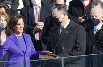 Kamala Harris takes the oath of office for vice president