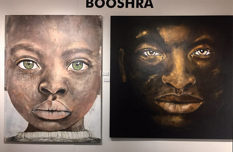 Acrylic and oil on canvas paintings by artist Booshra Munamu.