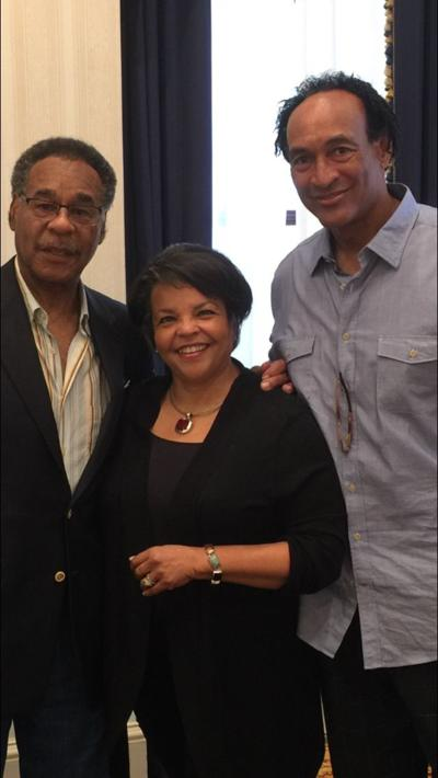 """Robin Smith, Democratic candidate for Missouri secretary of state (center), with U.S. Rep. Emanuel Cleaver and her husband, Isaac """"Bud"""" Stallworth"""