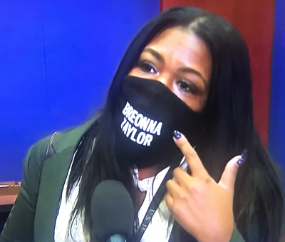 Cori Bush dons Breonna Taylor mask