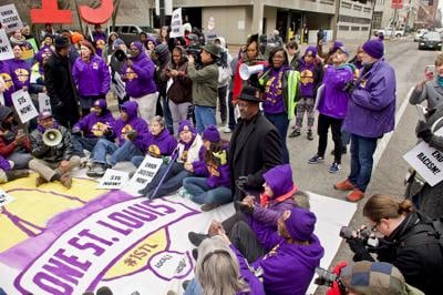Janitors and allies protesting