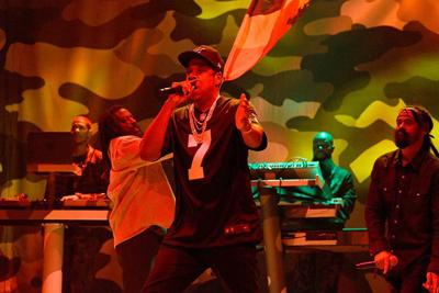 Jay-Z performs in a Colin Kaepernick jersey