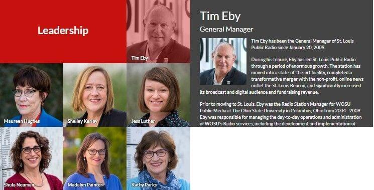 Screenshot of the leadership team at St. Louis Public Radio.