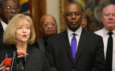 St. Louis Mayor Lyda Krewson and Jimmie Edwards