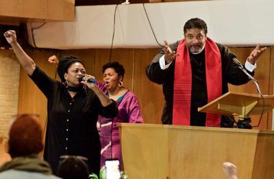 Rev. William J. Barber II, Yara Allen and Rev. Traci Blackmon