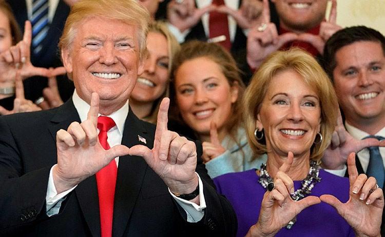 President Trump and Betsy DeVos, his secretary of Education.