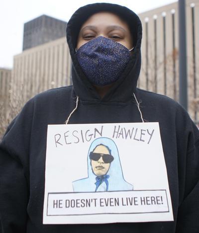 Resign Hawley (Resist STL) protester