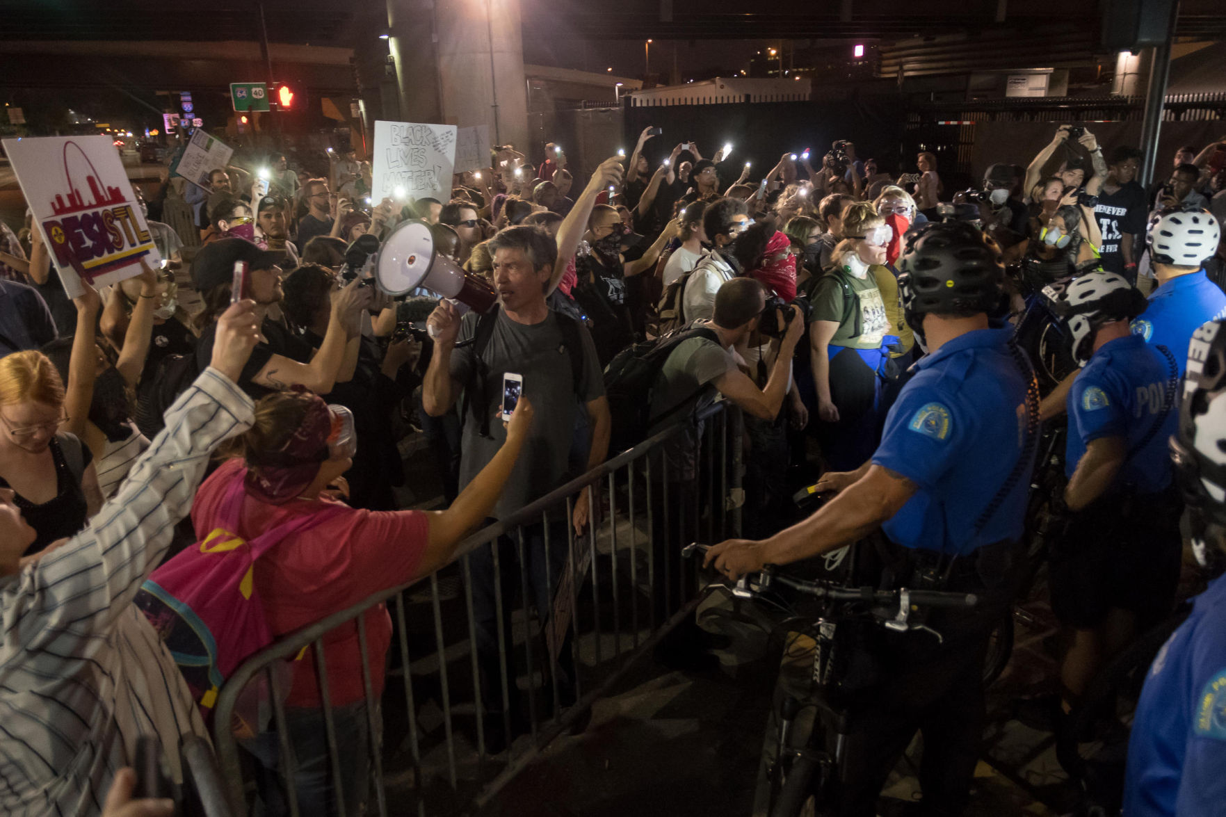 Protesters block traffic, march in streets of downtown St. Louis