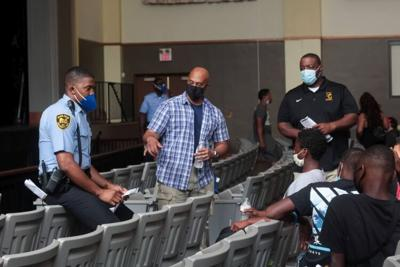 Officer Rolandis Woodland, Grand Sneed, Jason Wells, Issac Crmour-Dozier and Cameron Johnson